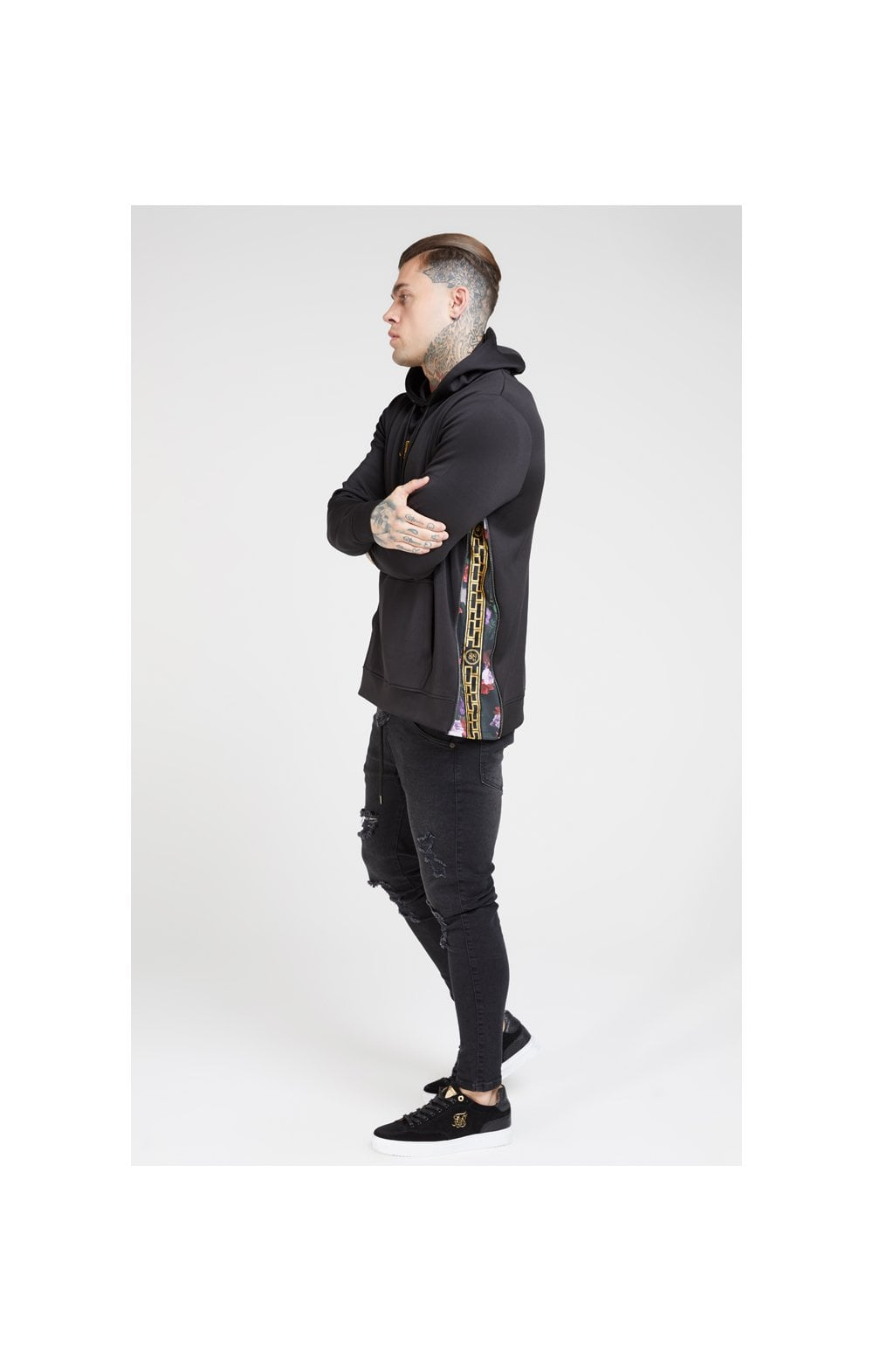 SikSilk Side Zip Tape Hybrid Hoodie - Black & Oil Paint (4)