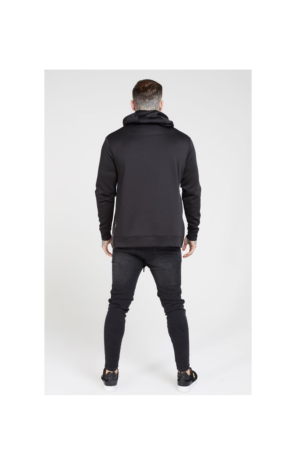 SikSilk Side Zip Tape Hybrid Hoodie - Black & Oil Paint (5)