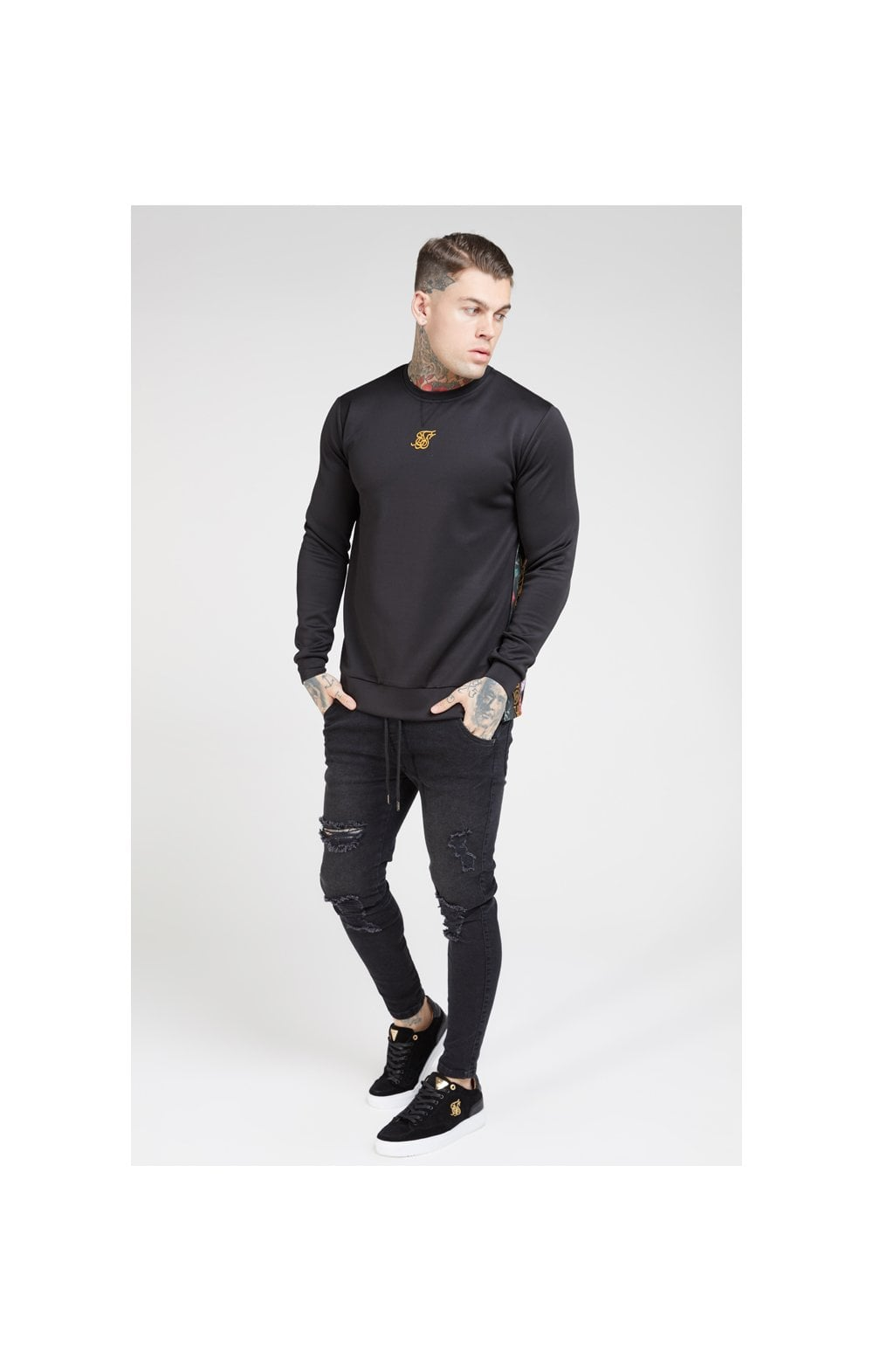 SikSilk Side Zip Crew Sweat – Black & Oil Paint (2)