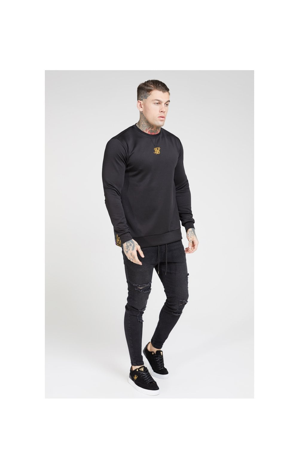SikSilk Side Zip Crew Sweat – Black & Oil Paint (3)