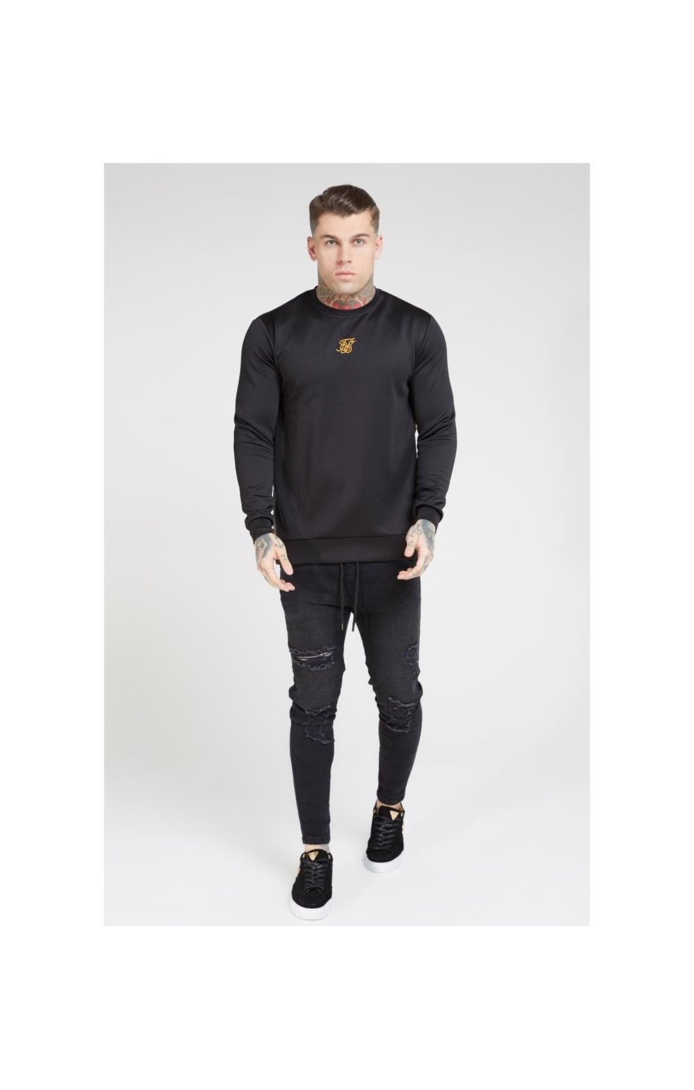 SikSilk Side Zip Crew Sweat – Black & Oil Paint (4)