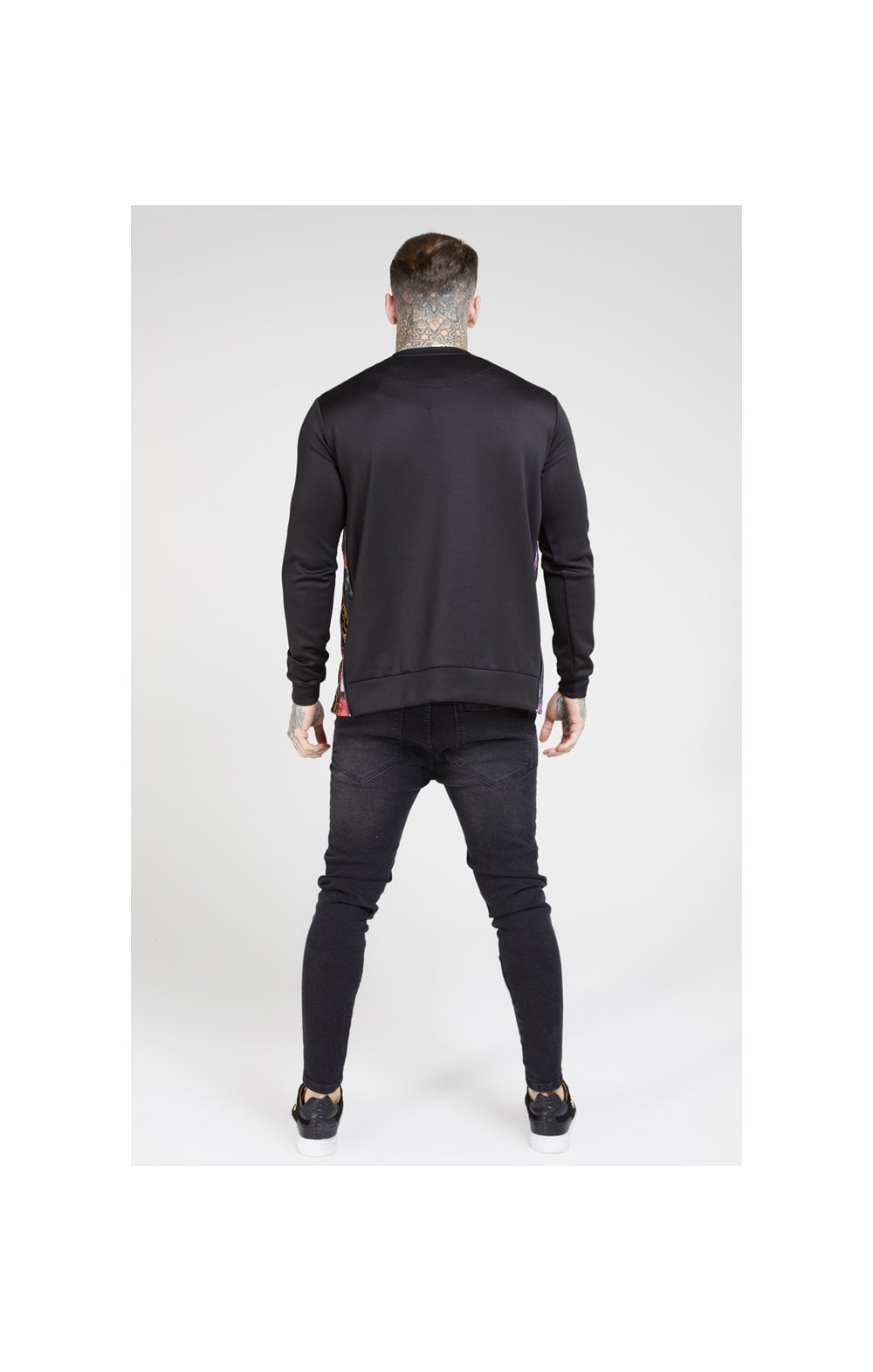 SikSilk Side Zip Crew Sweat – Black & Oil Paint (5)