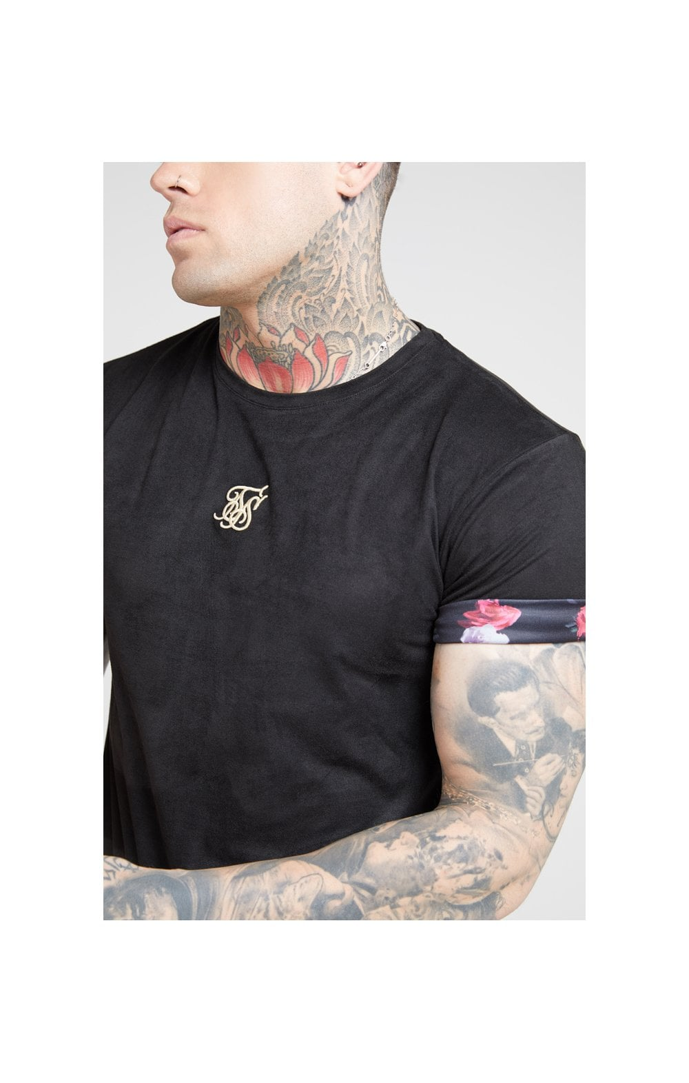 Load image into Gallery viewer, SikSilk S/S Roll Sleeve Tee – Black & Oil Paint (1)