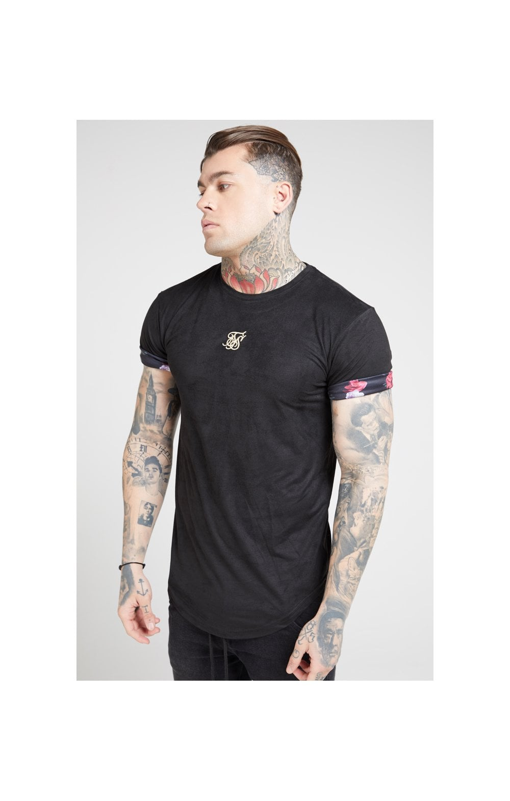 Load image into Gallery viewer, SikSilk S/S Roll Sleeve Tee – Black & Oil Paint