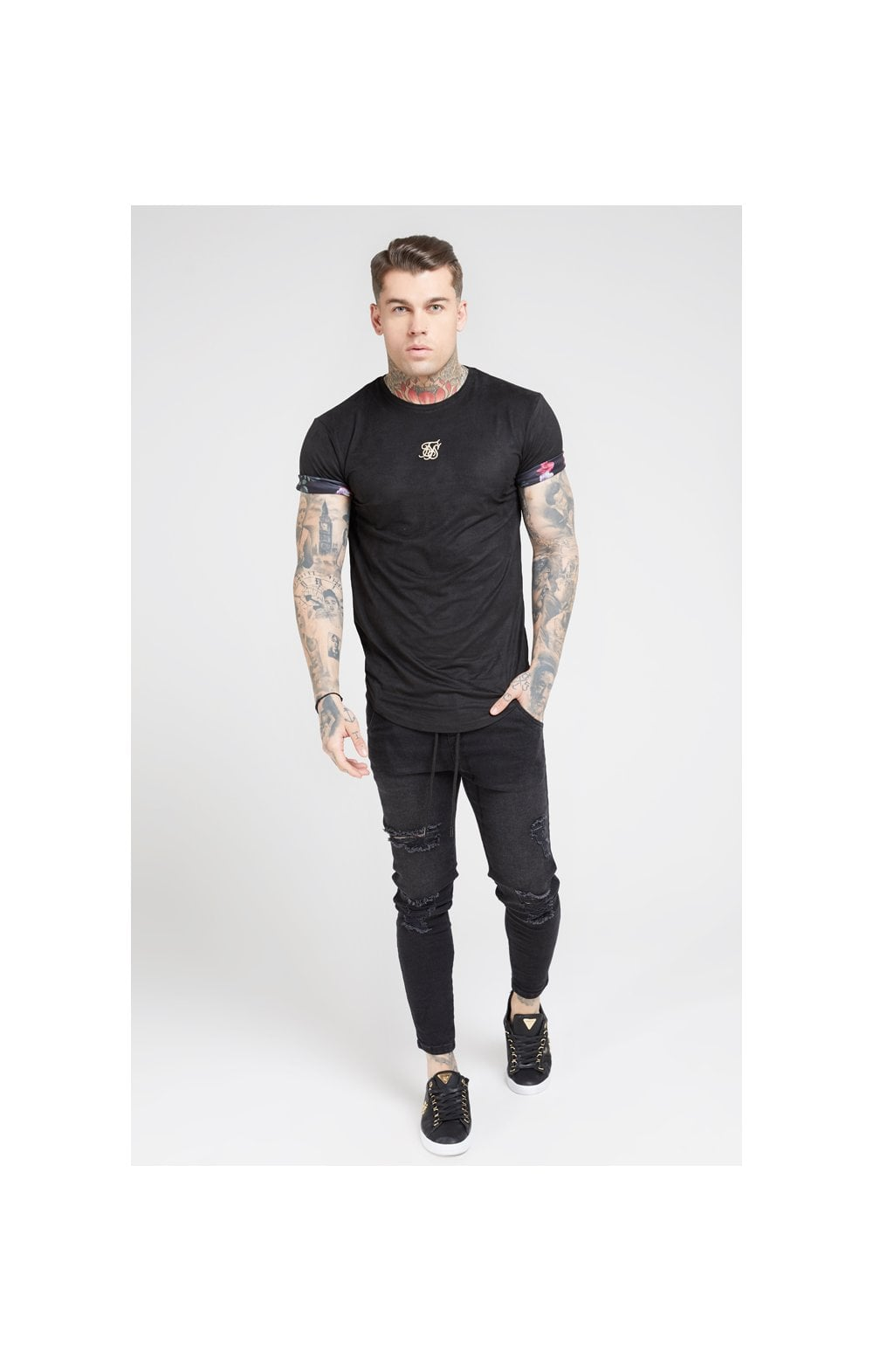 Load image into Gallery viewer, SikSilk S/S Roll Sleeve Tee – Black & Oil Paint (2)
