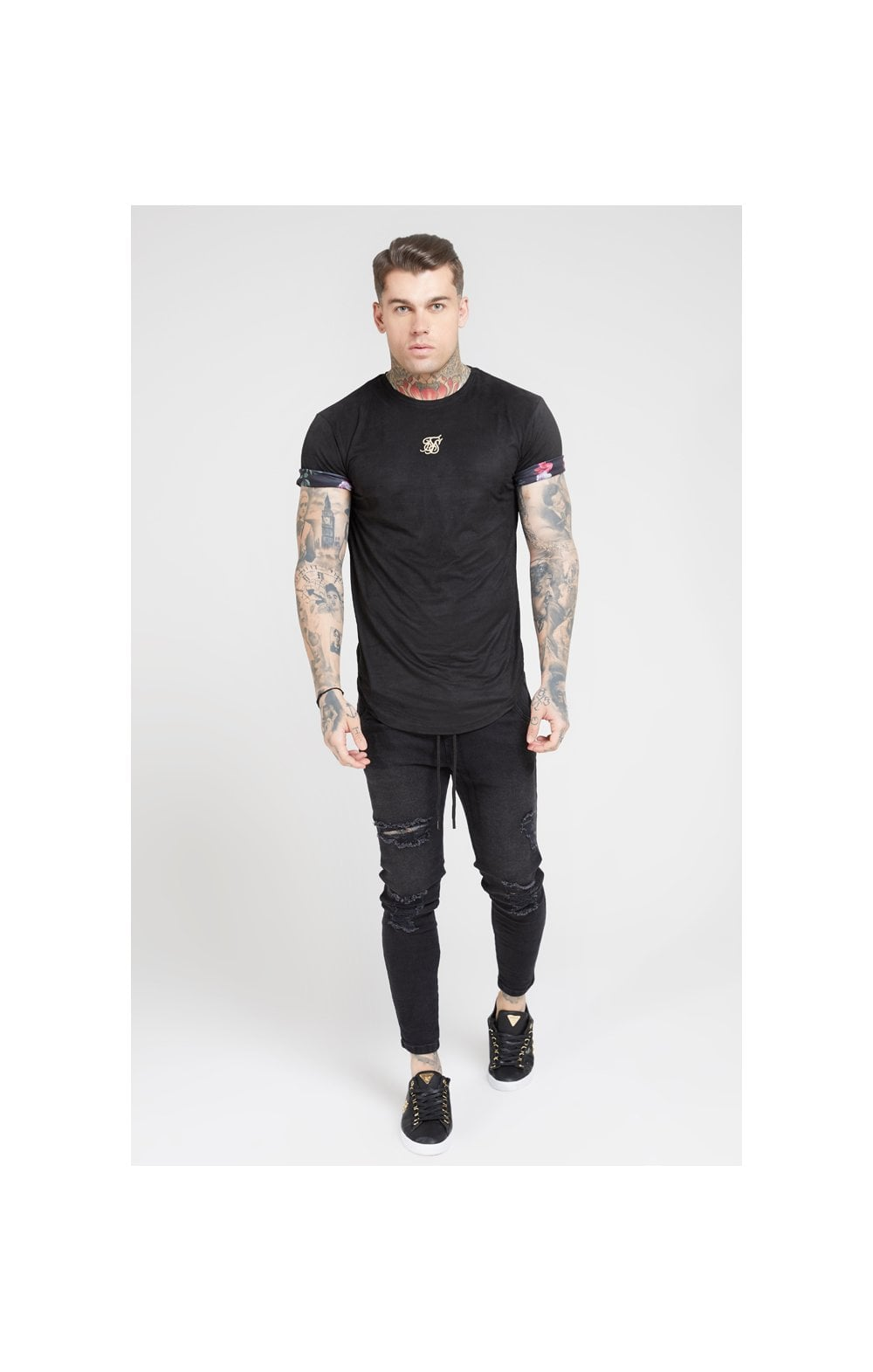 Load image into Gallery viewer, SikSilk S/S Roll Sleeve Tee – Black & Oil Paint (3)