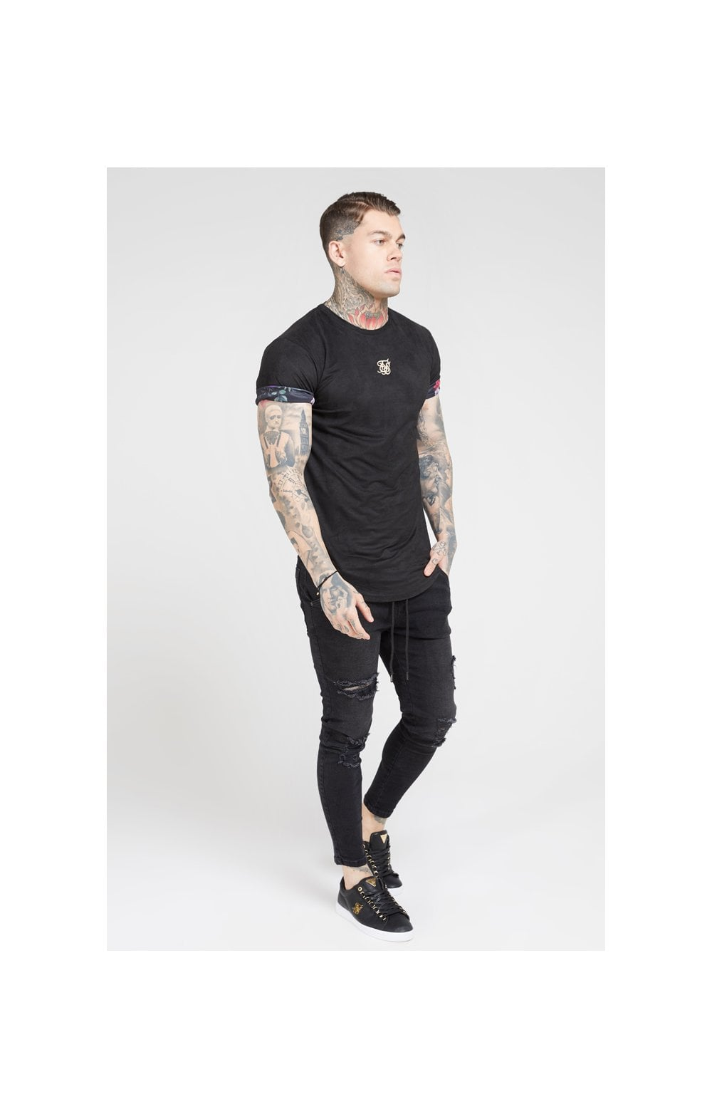 Load image into Gallery viewer, SikSilk S/S Roll Sleeve Tee – Black & Oil Paint (4)