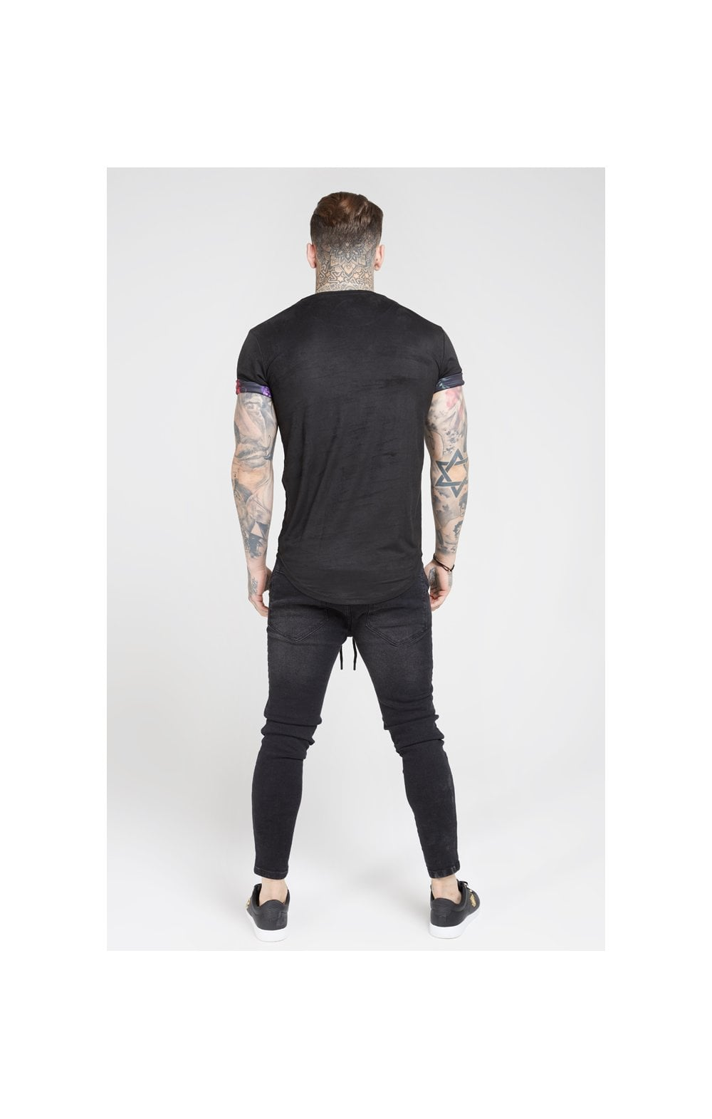 Load image into Gallery viewer, SikSilk S/S Roll Sleeve Tee – Black & Oil Paint (5)