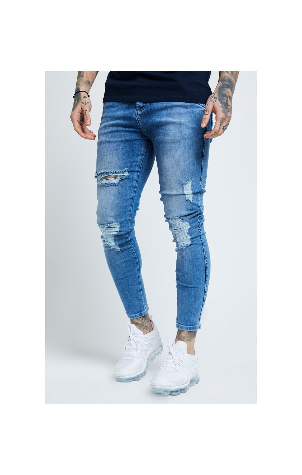 SikSilk Distressed Skinny Denims - Mid Wash