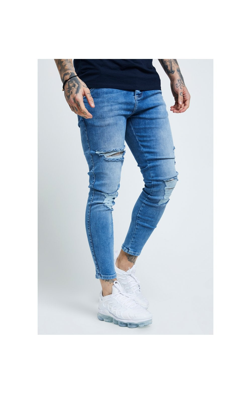 SikSilk Distressed Skinny Denims - Mid Wash (1)