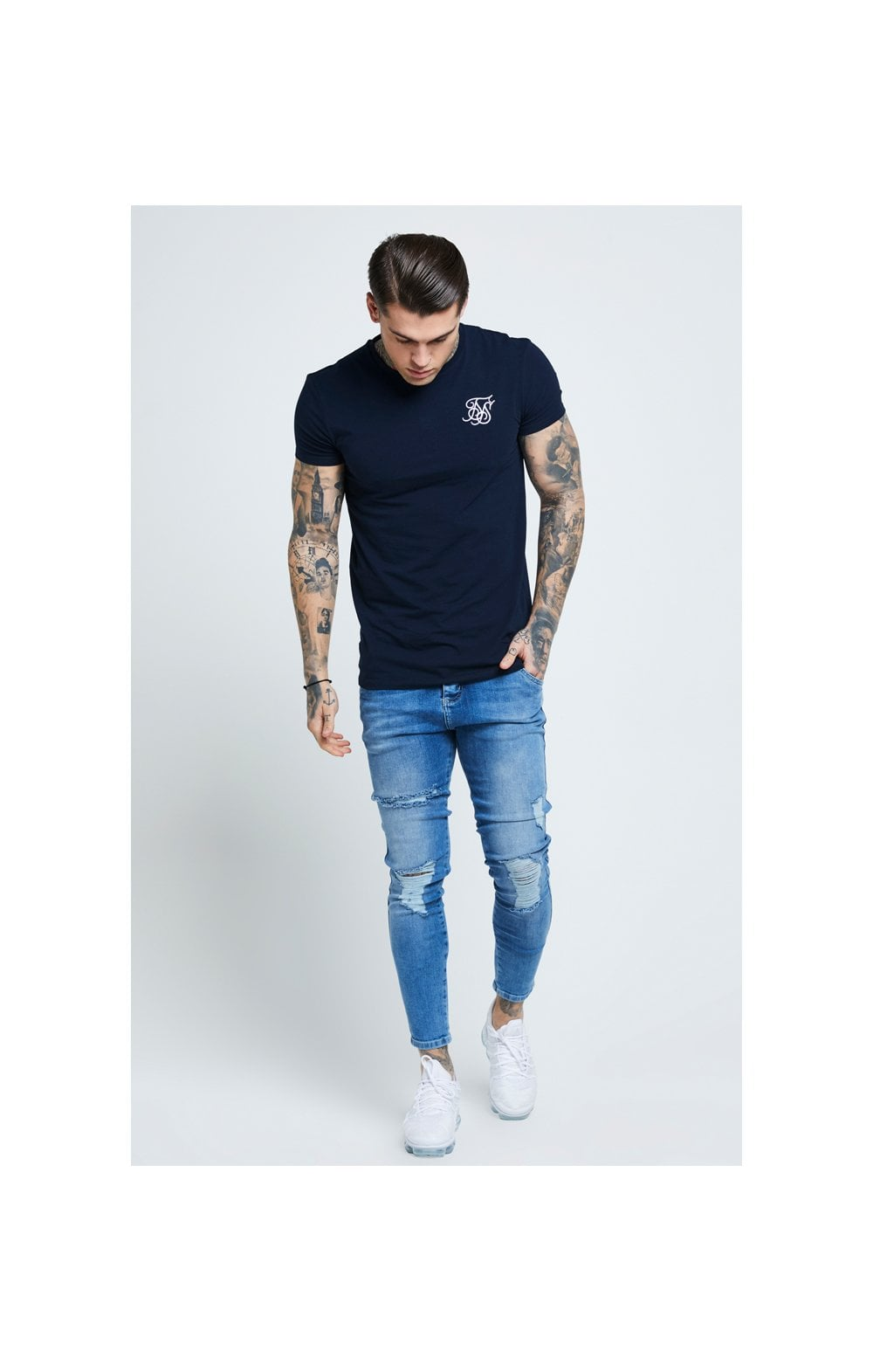 SikSilk Distressed Skinny Denims - Mid Wash (5)