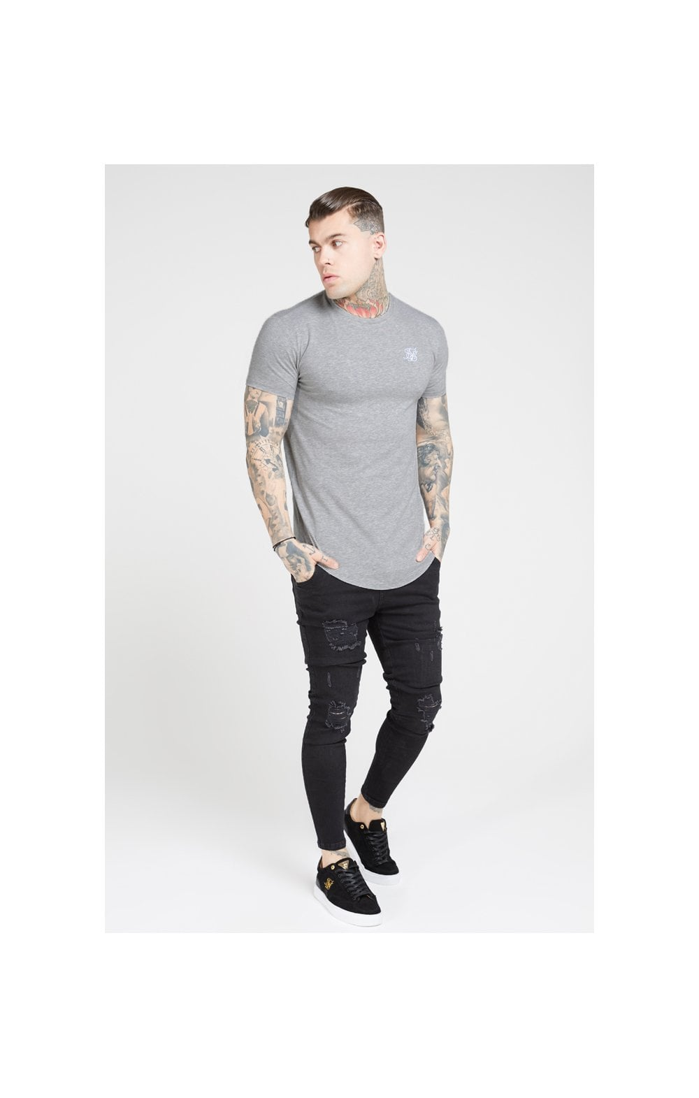 SikSilk S/S Core Gym Tee – Grey Marl (3)