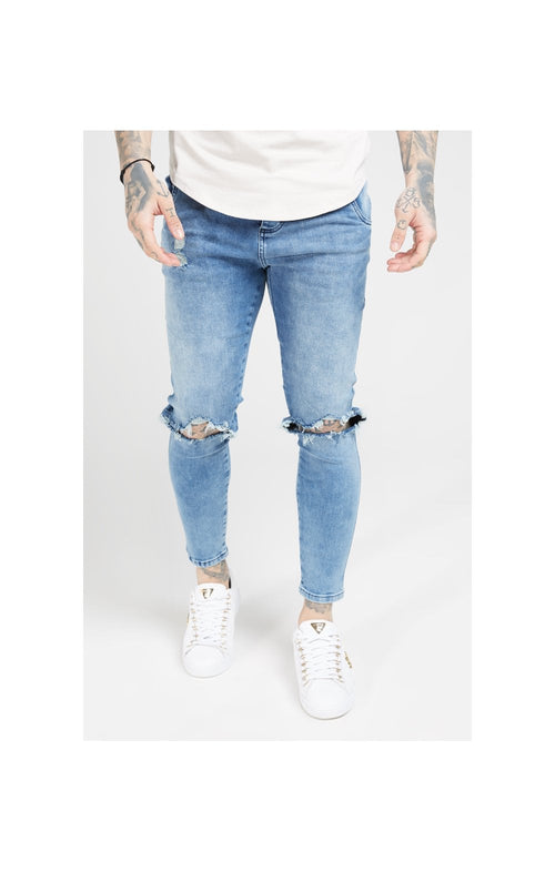 SikSilk Skinny Distressed Slice Knee Denims - Midstone Blue