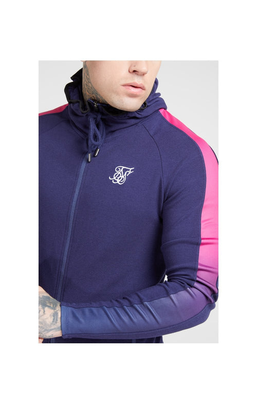 SikSilk Fade Panel Zip Through Hoodie – Navy & Neon Fade