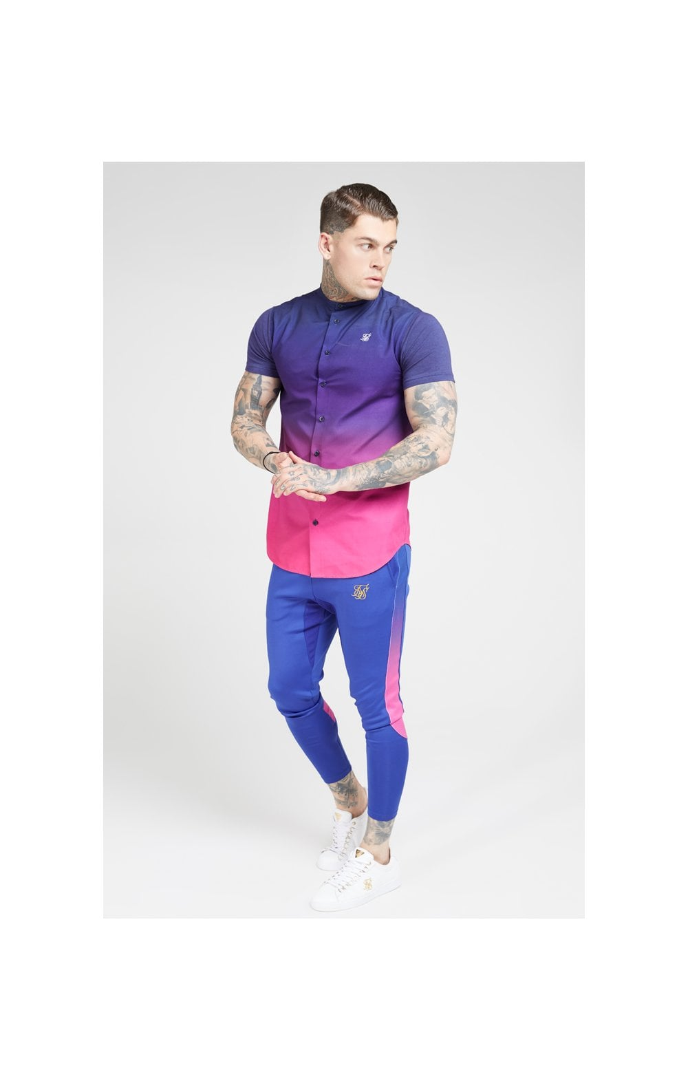 Load image into Gallery viewer, SikSilk S/S Fade Grandad Shirt – Navy & Neon Fade (2)