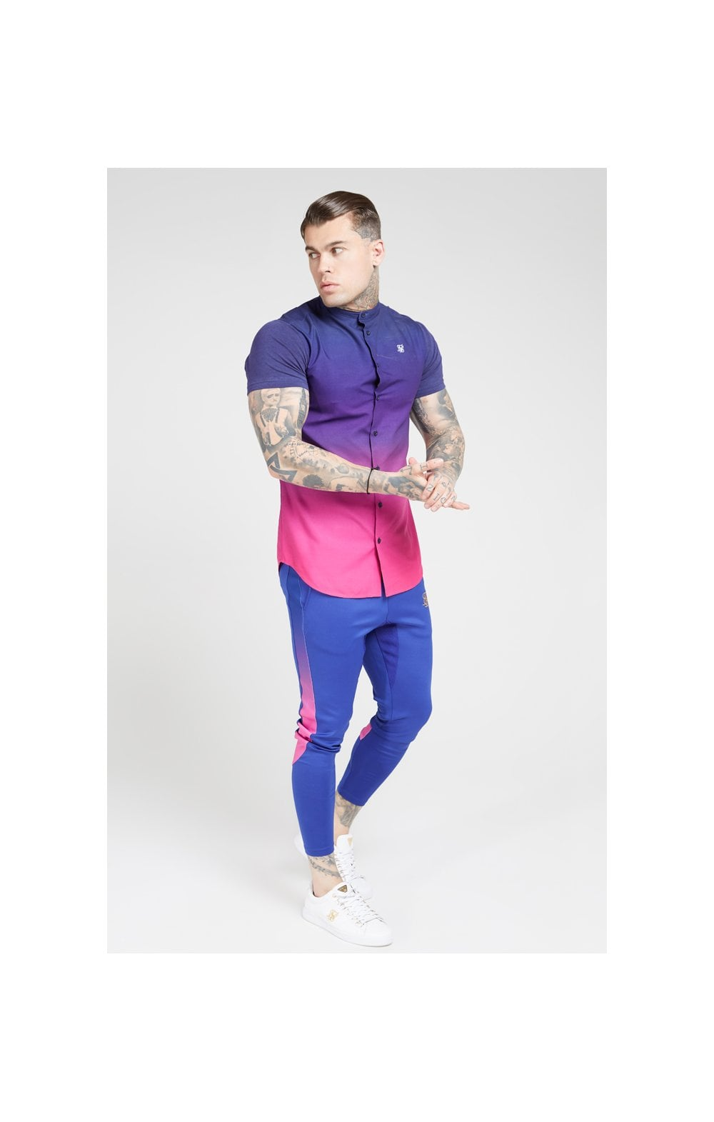 Load image into Gallery viewer, SikSilk S/S Fade Grandad Shirt – Navy & Neon Fade (3)