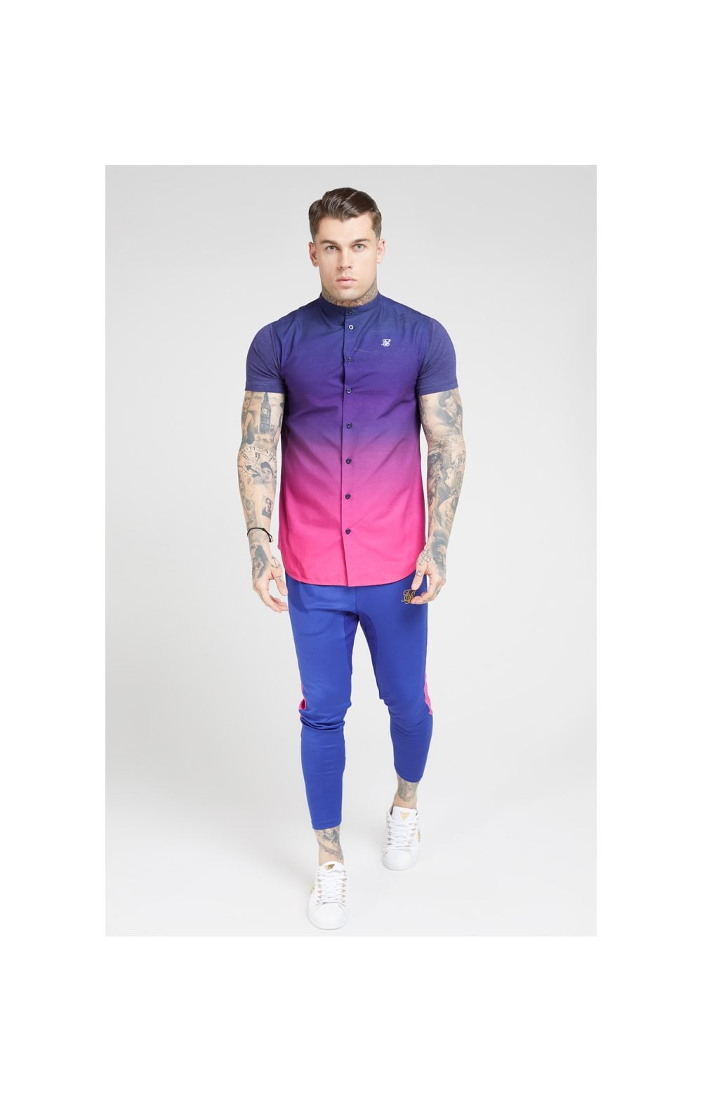 Load image into Gallery viewer, SikSilk S/S Fade Grandad Shirt – Navy & Neon Fade (4)