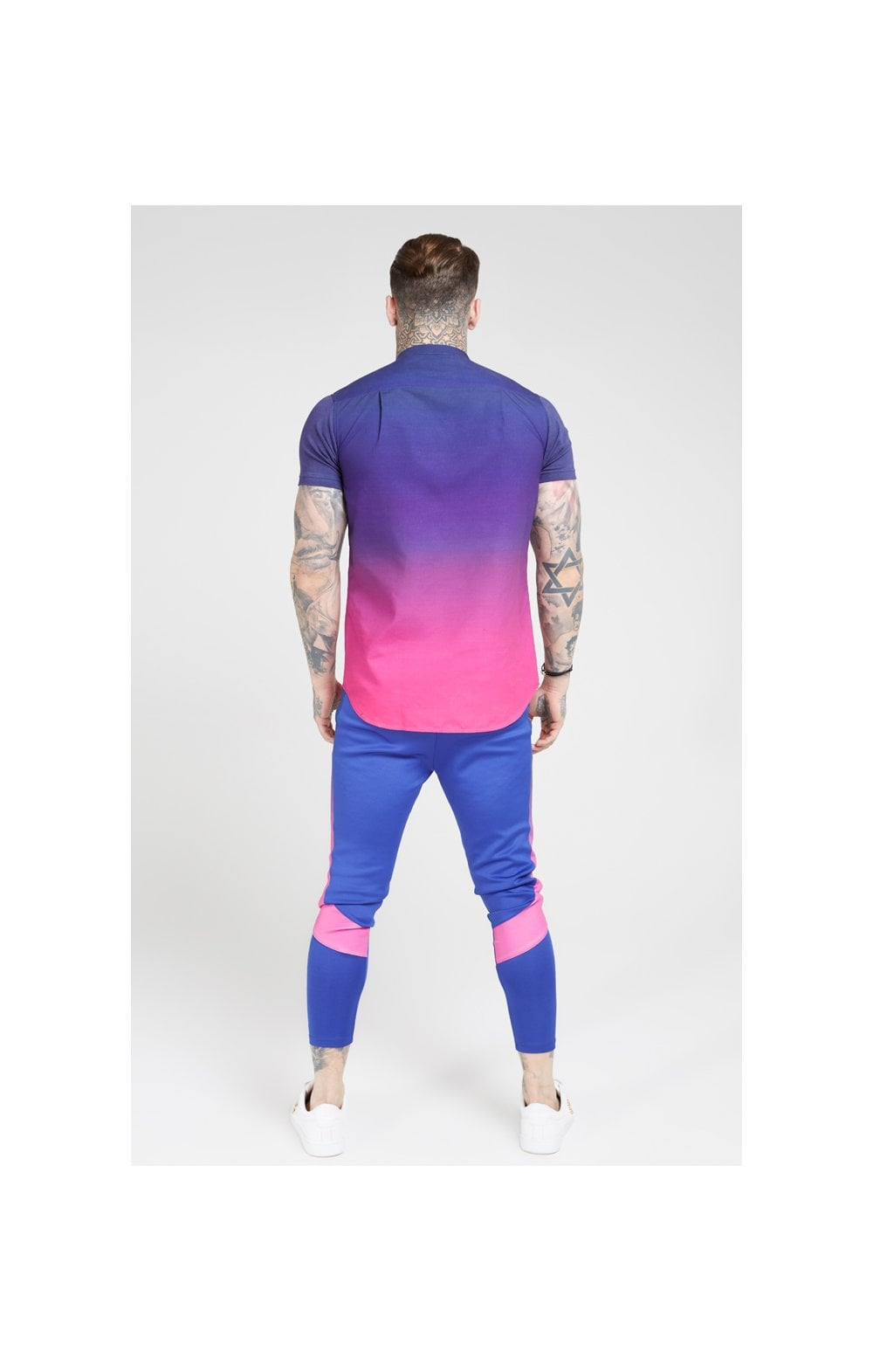 Load image into Gallery viewer, SikSilk S/S Fade Grandad Shirt – Navy & Neon Fade (5)