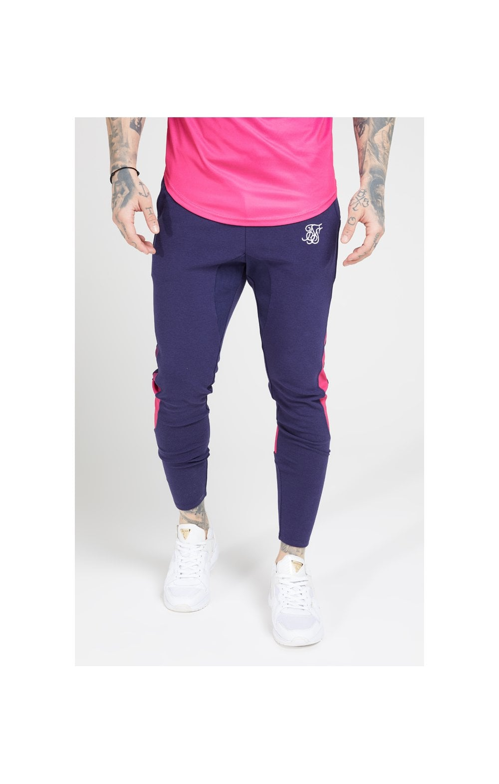 Load image into Gallery viewer, SikSilk Athlete Tech Fade Track Pants – Navy & Neon Fade (1)