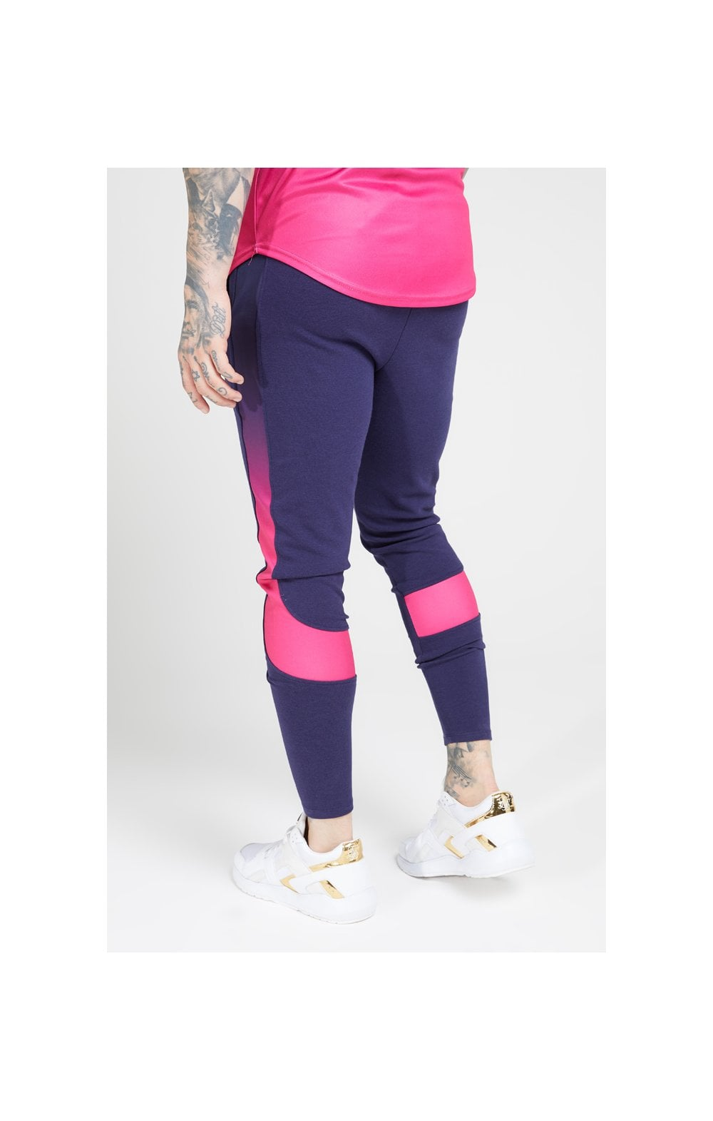 Load image into Gallery viewer, SikSilk Athlete Tech Fade Track Pants – Navy & Neon Fade (2)