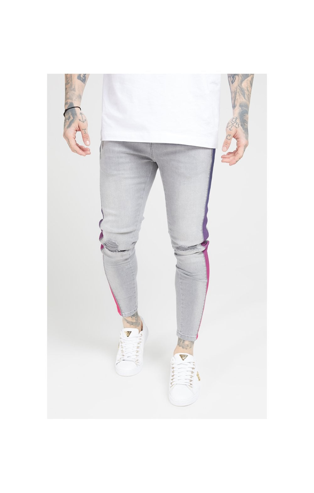 Load image into Gallery viewer, SikSilk Burst Knee Low Rise Denims - Washed Grey (1)