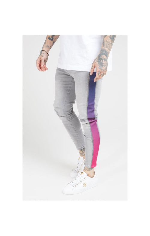 SikSilk Burst Knee Low Rise Denims - Washed Grey