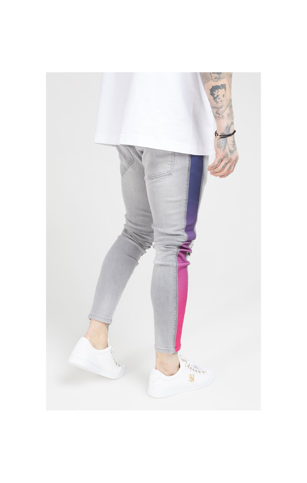 Load image into Gallery viewer, SikSilk Burst Knee Low Rise Denims - Washed Grey (2)