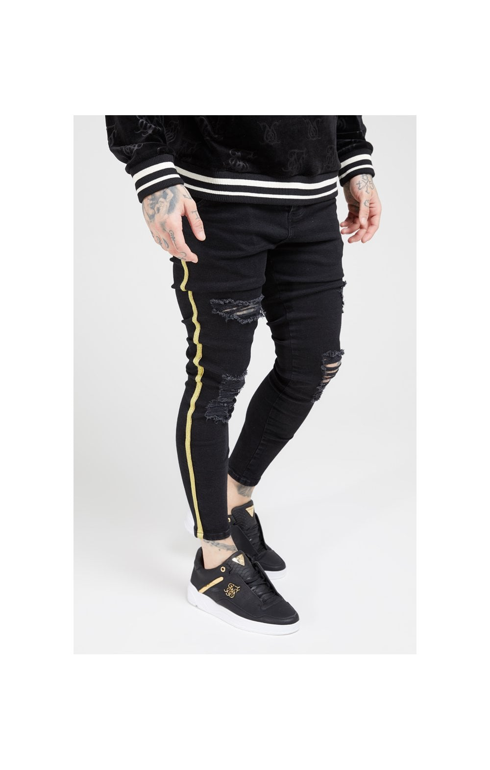 Load image into Gallery viewer, SikSilk Distressed Skinny Taped Denims - Washed Black
