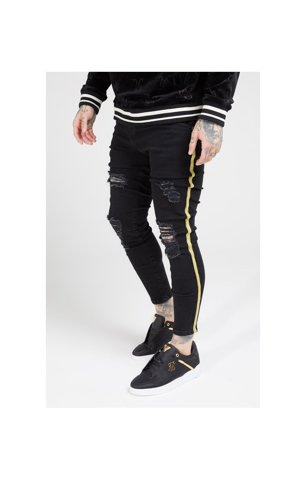 Load image into Gallery viewer, SikSilk Distressed Skinny Taped Denims - Washed Black (1)