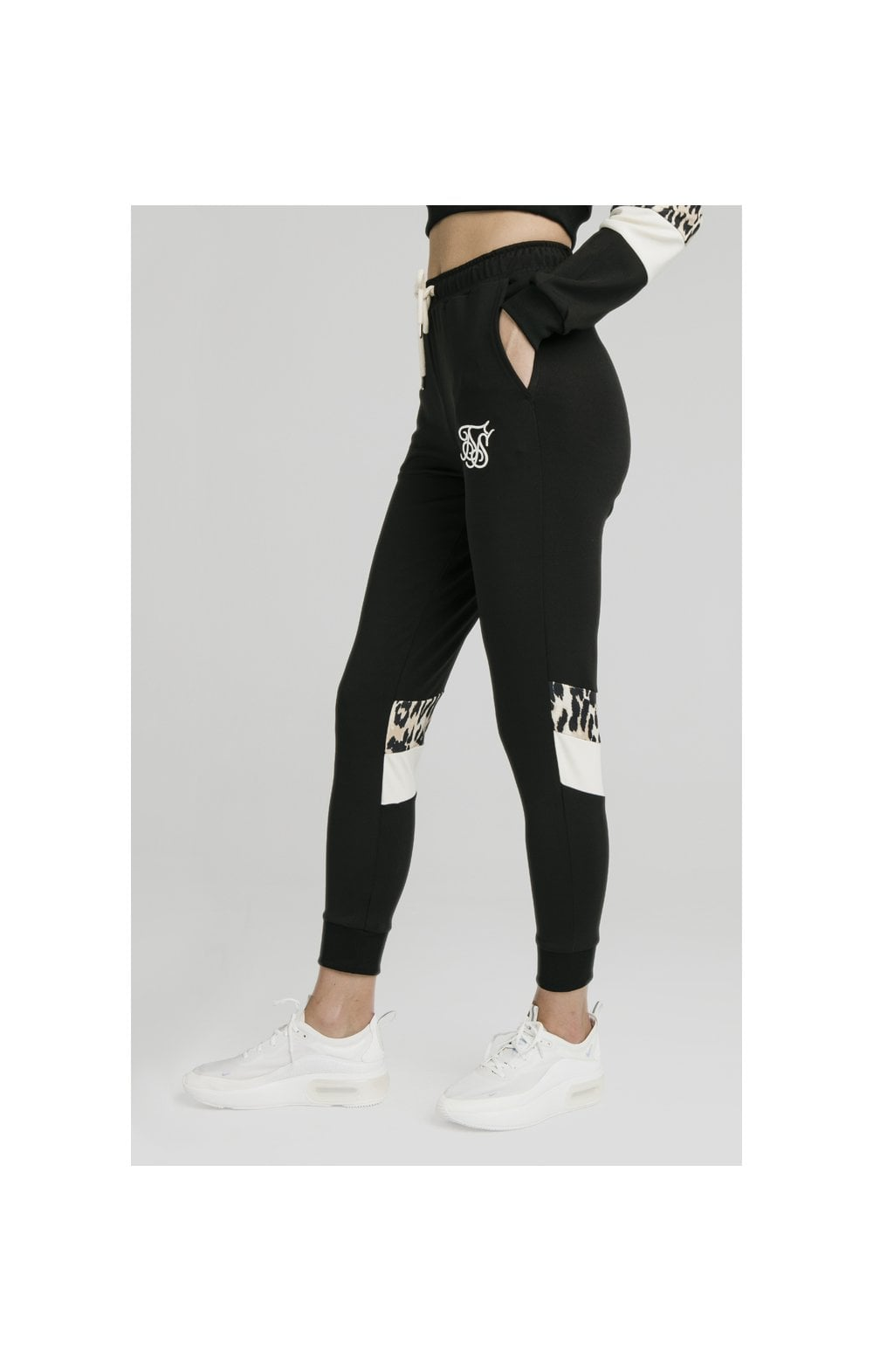 SikSilk Leopard Panel Track Pants – Black