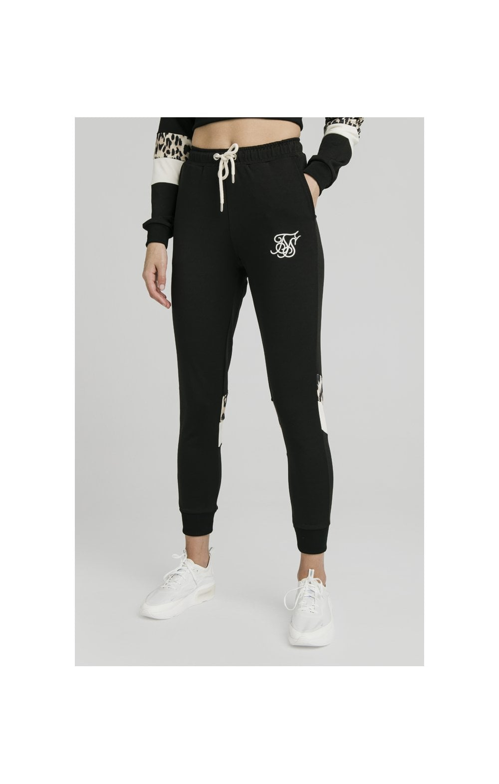 SikSilk Leopard Panel Track Pants – Black (2)