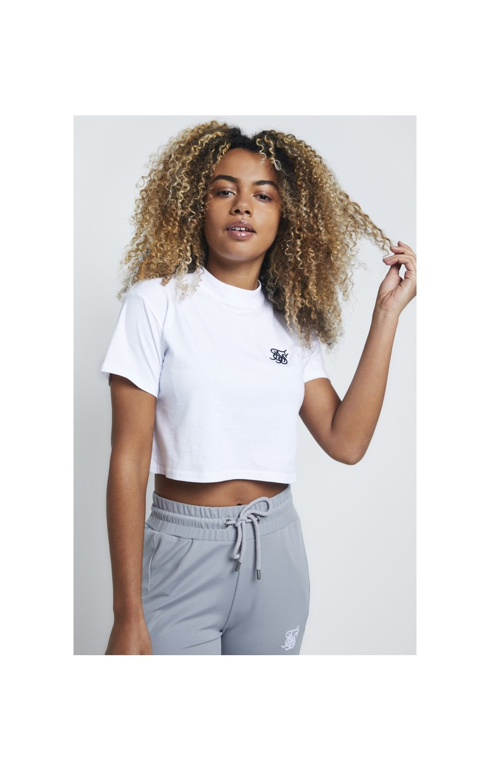 SikSilk Retro Box Fit Crop Tee – Optic White (1)