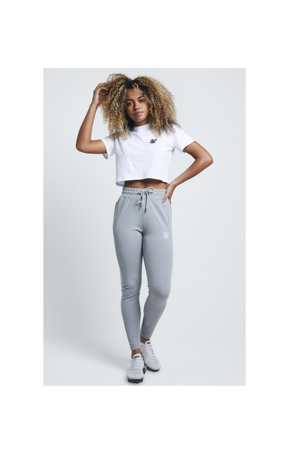SikSilk Retro Box Fit Crop Tee – Optic White (2)