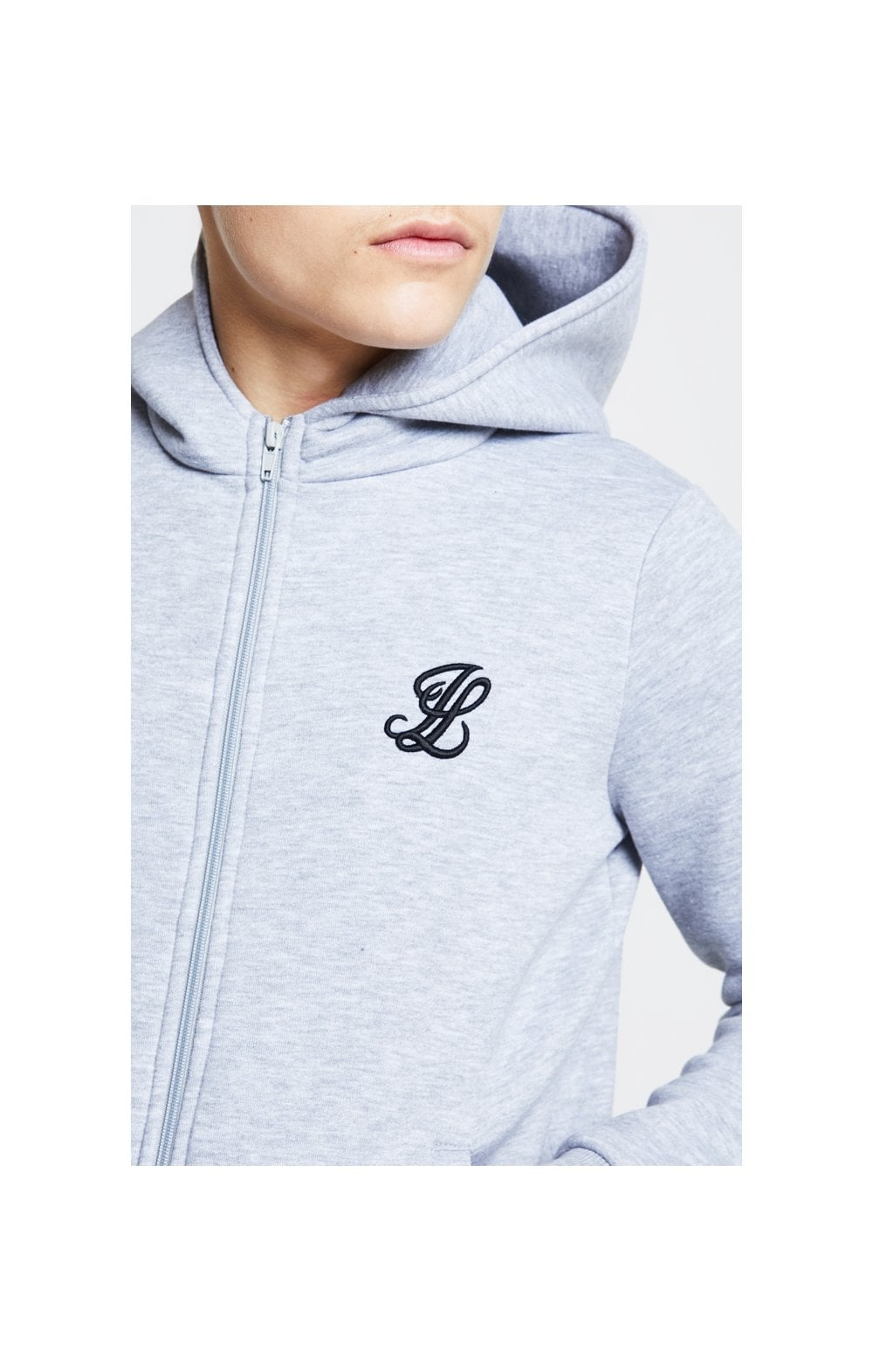 Illusive London Zip Through Hoodie - Grey Marl