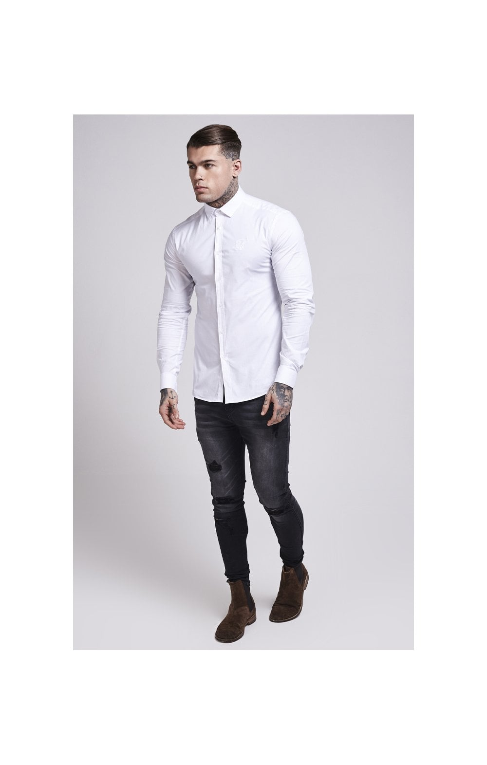 Load image into Gallery viewer, SikSilk Cotton Stretch Shirt - White (1)