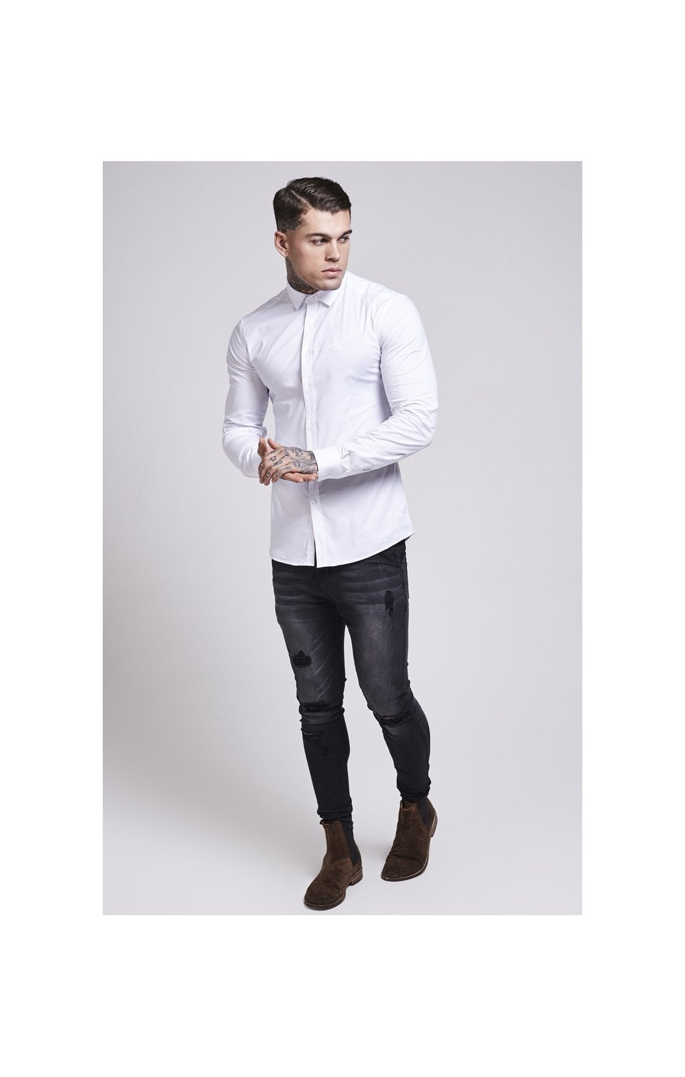 Load image into Gallery viewer, SikSilk Cotton Stretch Shirt - White (2)