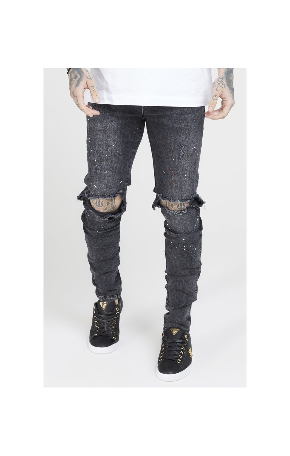 SikSilk Bust Knee Riot Denims - Washed Black (1)