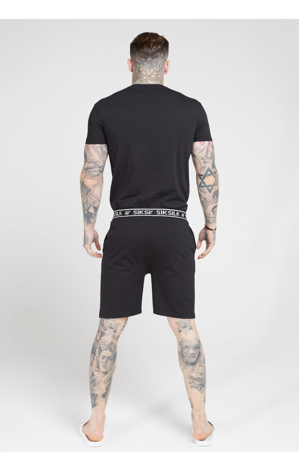SikSilk Lounge Tee - Black & Grey (2 Pack) - 1 Grey Tee & 1 Black Tee (2)
