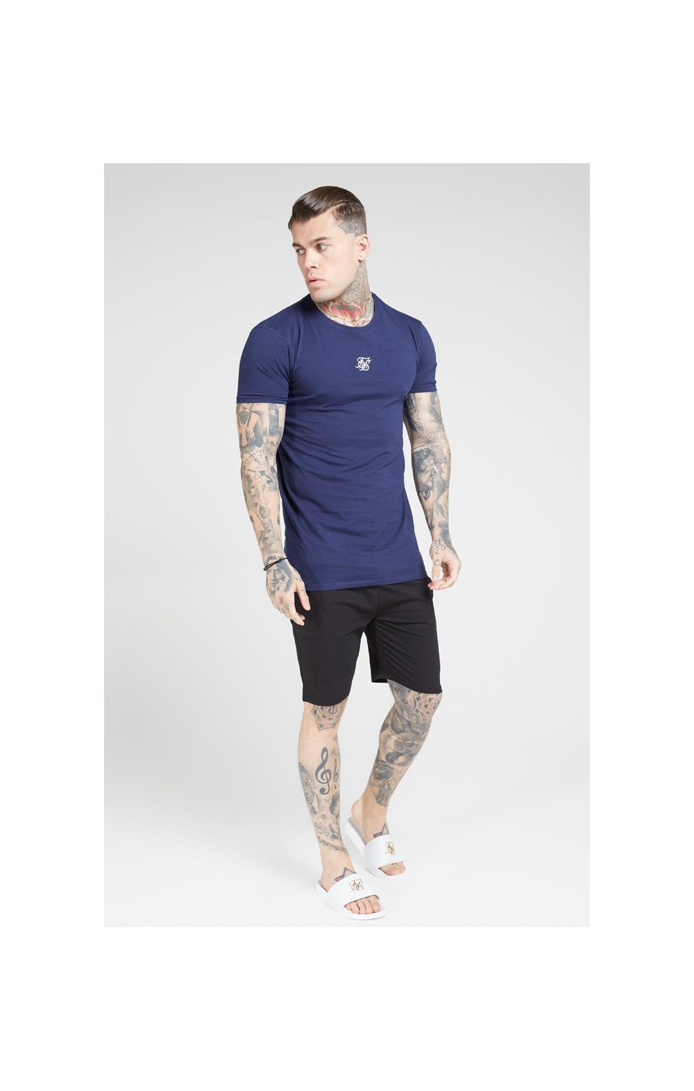 SikSilk Lounge Tee - White & Navy (2 Pack) - 1 White Tee & 1 Navy Tee (2)