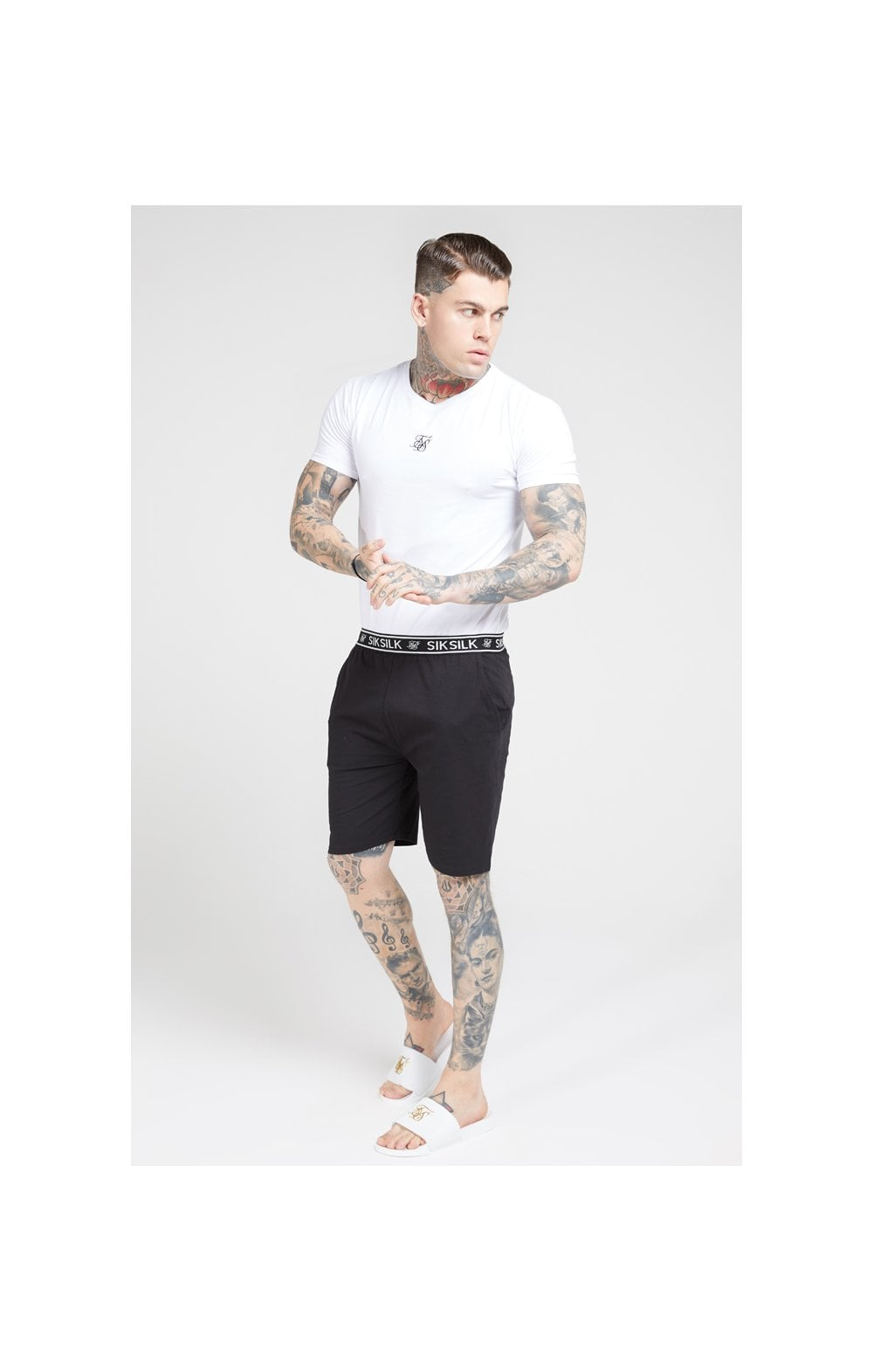 SikSilk Lounge Tee - White & Navy (2 Pack) - 1 White Tee & 1 Navy Tee (4)