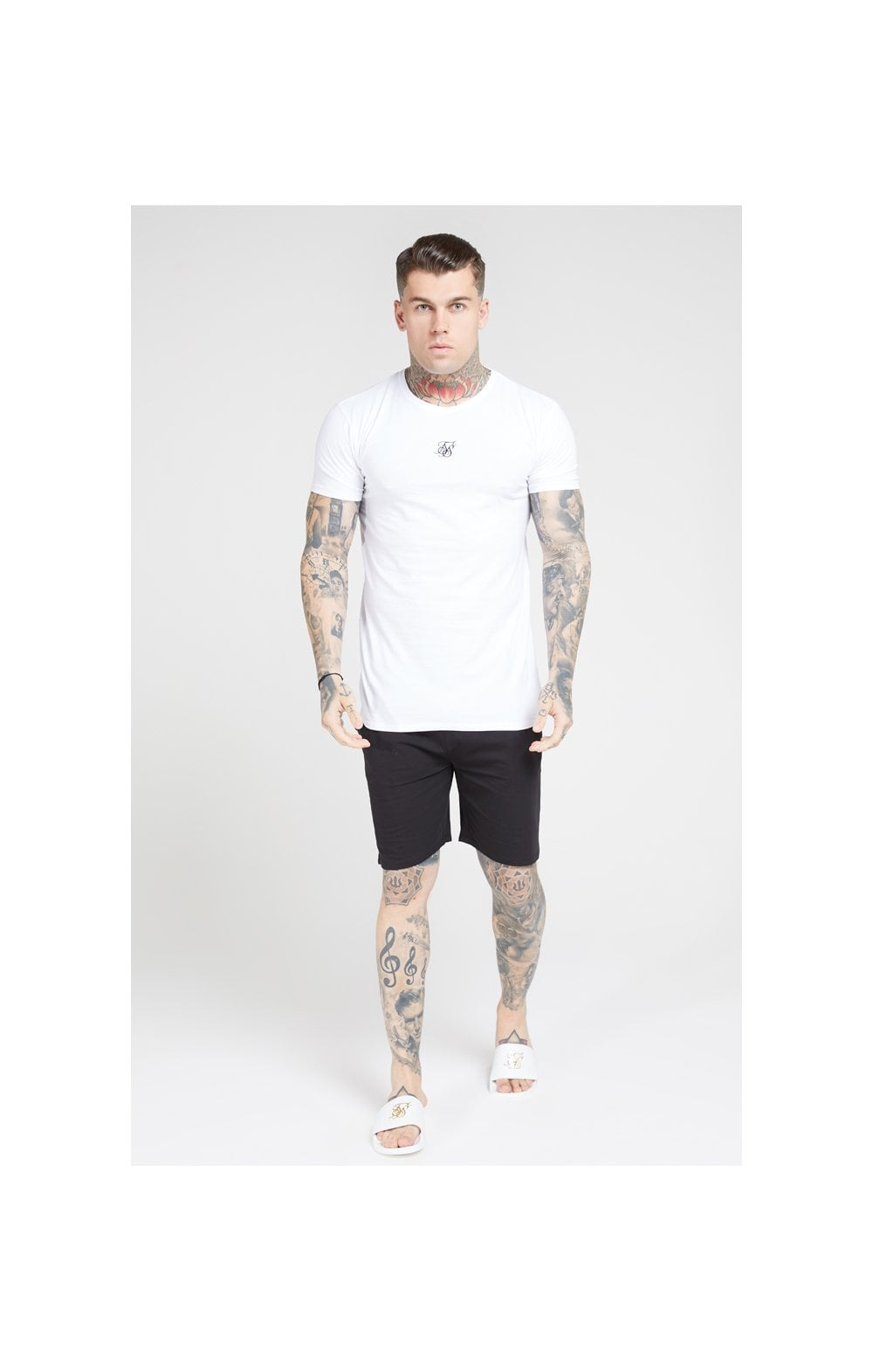 SikSilk Lounge Tee - White & Navy (2 Pack) - 1 White Tee & 1 Navy Tee (5)