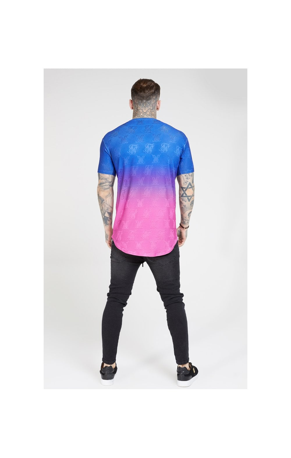 Load image into Gallery viewer, SikSilk Monogram Fade Gym Tee – Blue Neon (4)