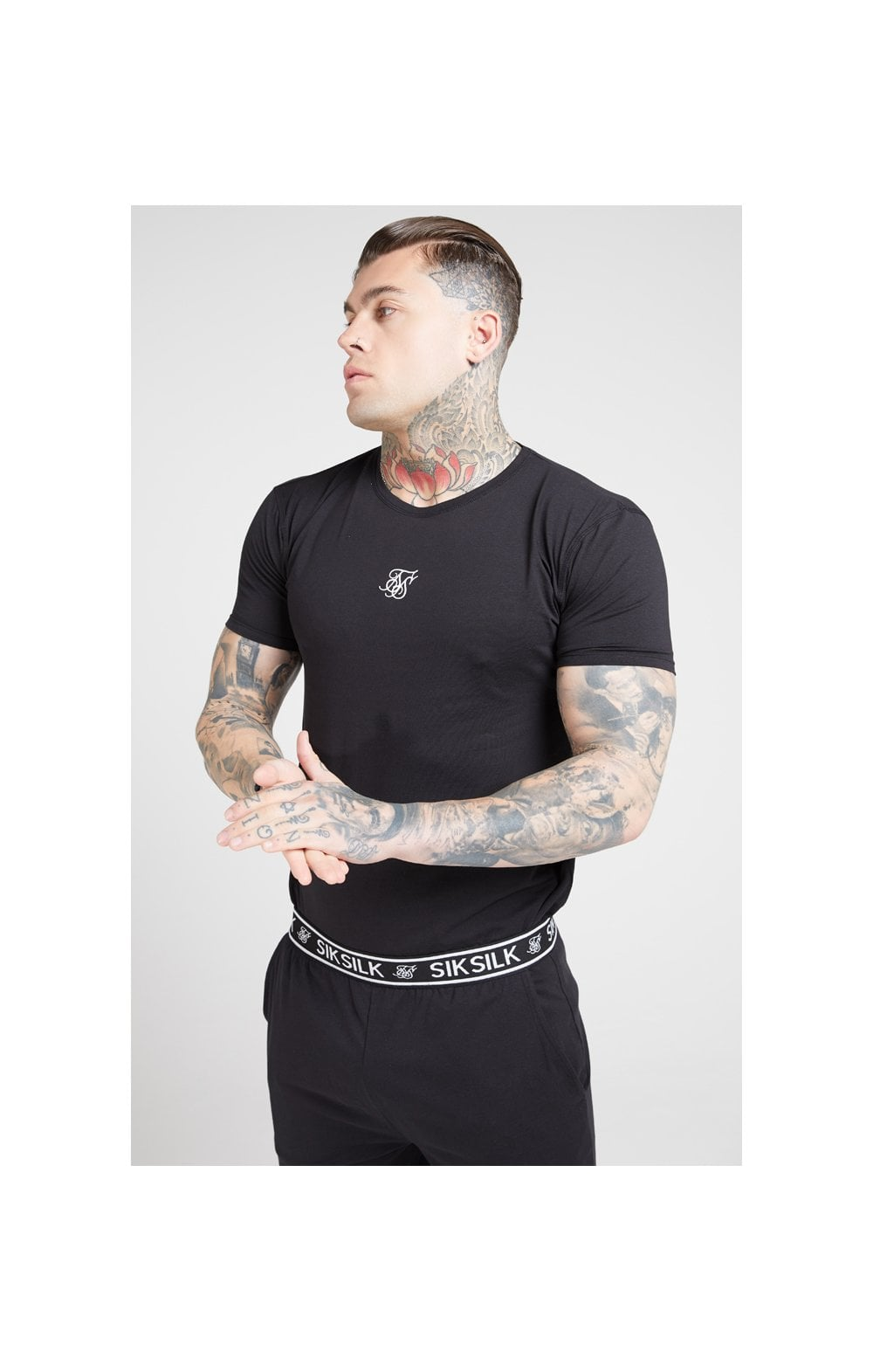 SikSilk Lounge Tee - Black & Grey (2 Pack) - 1 Grey Tee & 1 Black Tee (1)