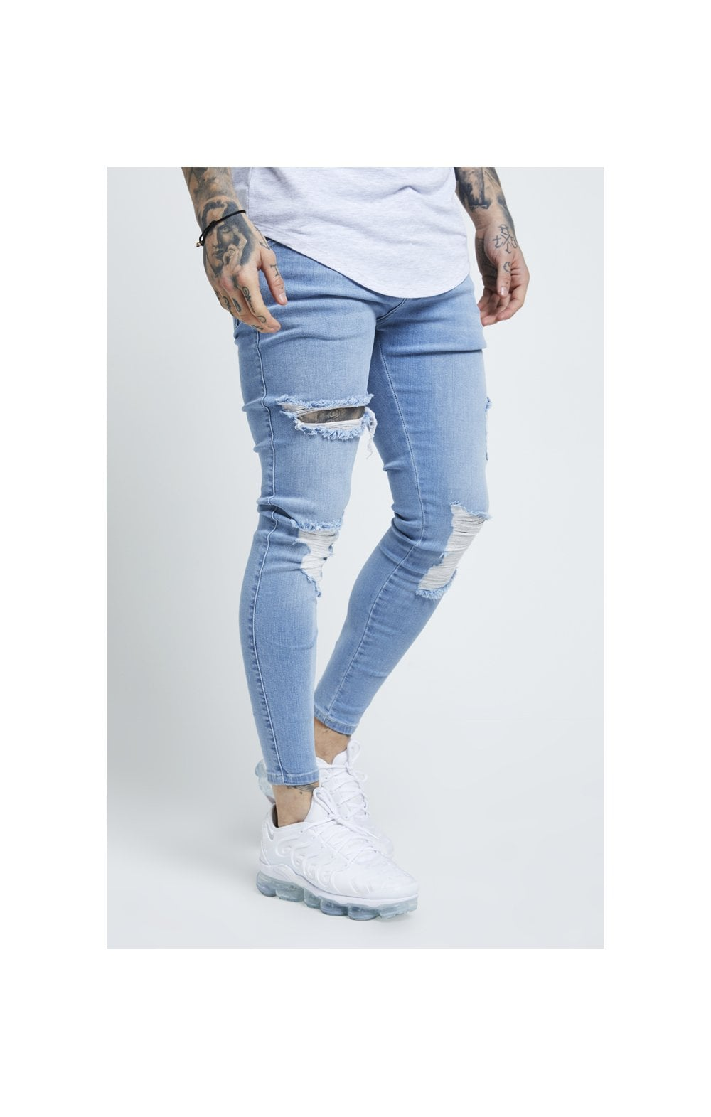 Load image into Gallery viewer, SikSilk Distressed Skinny Jeans – Light Wash (1)