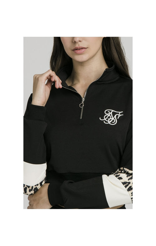 SikSilk Quarter Leopard Track Top – Black