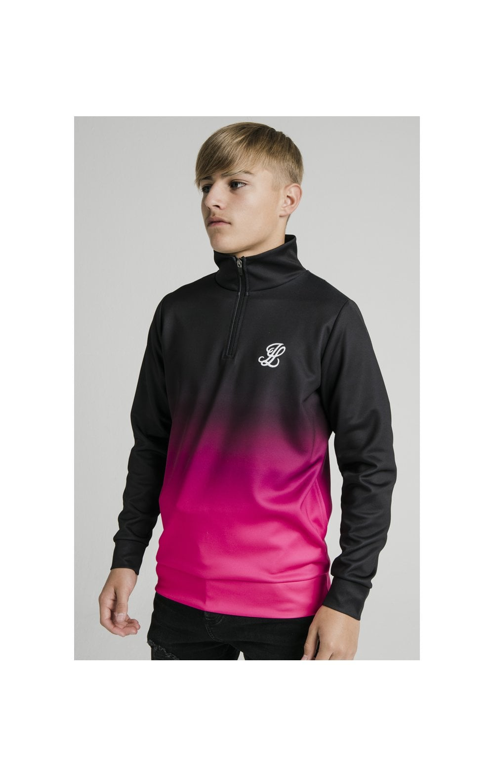 Illusive London Funnel Neck 1/4 Zip Hoodie - Black & Pink (1)