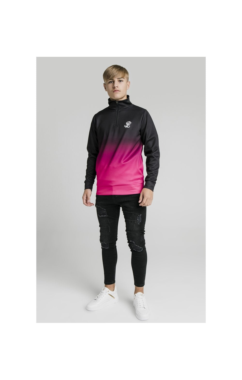 Illusive London Funnel Neck 1/4 Zip Hoodie - Black & Pink (2)