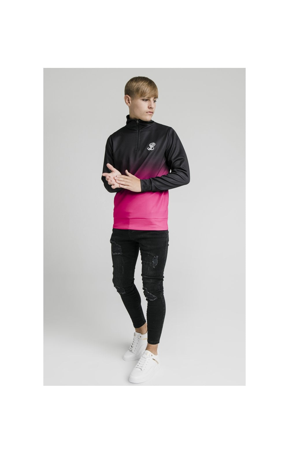 Illusive London Funnel Neck 1/4 Zip Hoodie - Black & Pink (3)