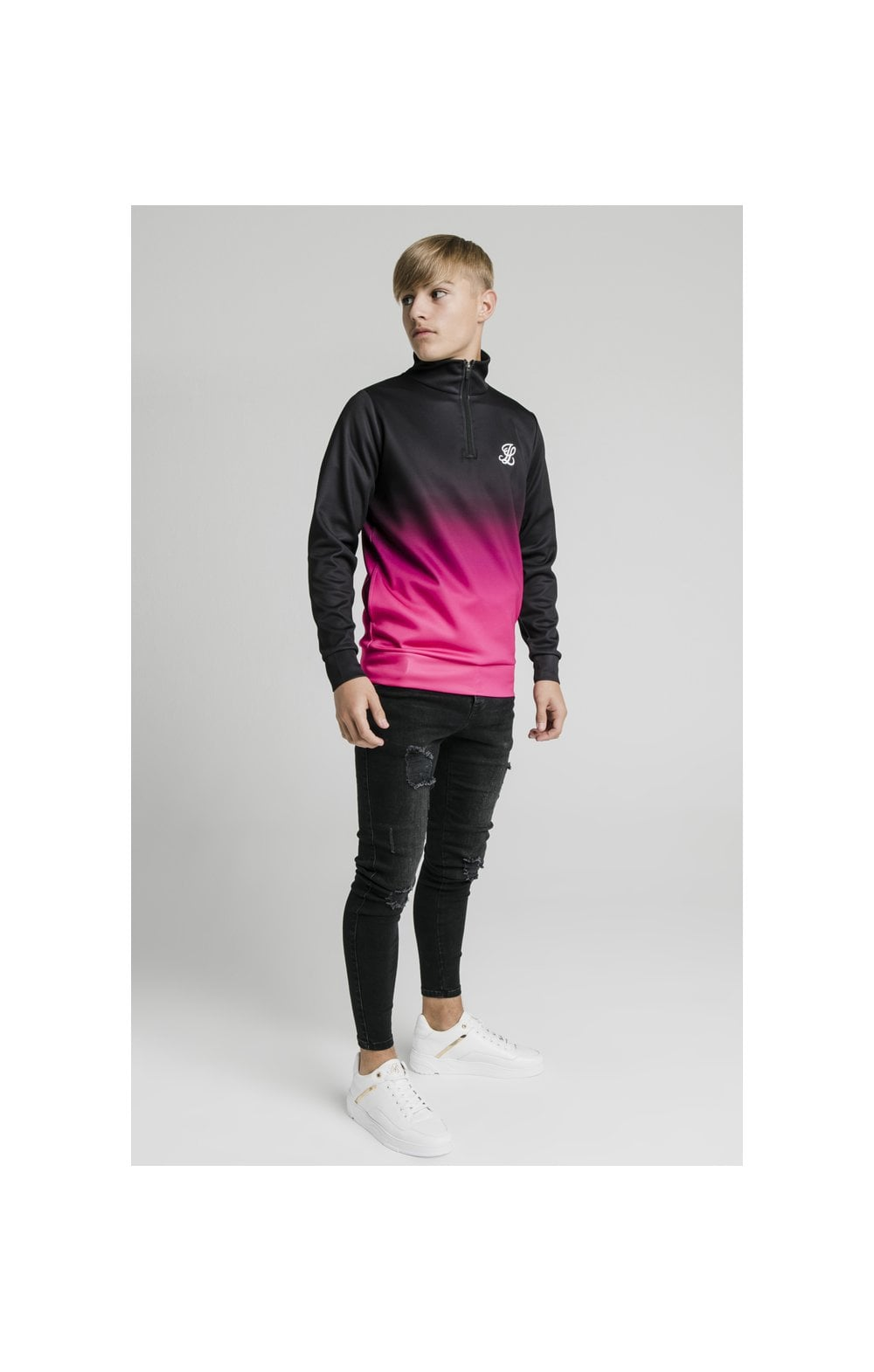 Illusive London Funnel Neck 1/4 Zip Hoodie - Black & Pink (4)