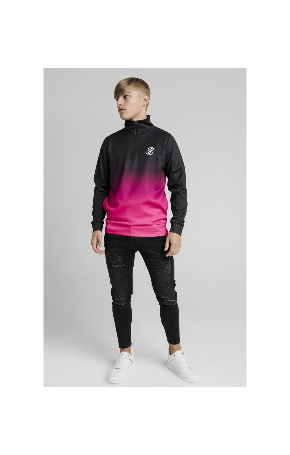 Illusive London Funnel Neck 1/4 Zip Hoodie - Black & Pink (5)